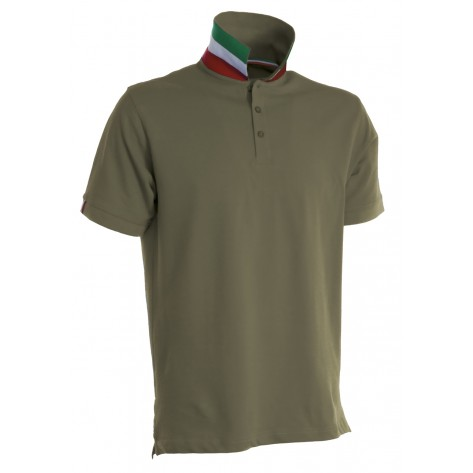 Polo a manica corta con colletto tricolore verde army italia