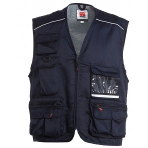 pocket gilet cotone multitasche con piping reflex